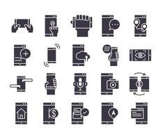paquete de iconos de silueta negra electrónica