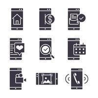 colección de iconos de silueta negra electrónica