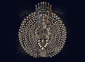 Modern henna stylized beautiful peacock tail design vector