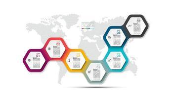 infográfico com desenho hexágono colorido