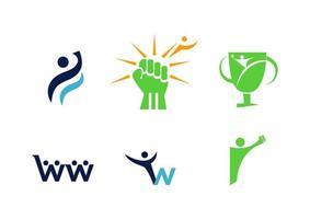 conjunto de seis logotipos relacionados à psicologia vetor
