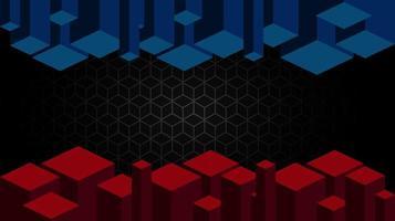 cubo negro geométrico diseño rojo y azul