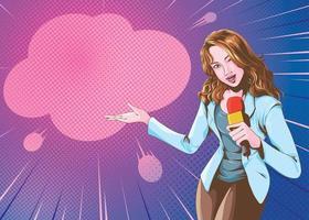 Female reporter comic art vector