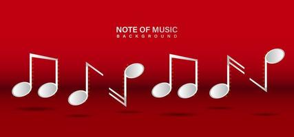note modelo de design de música em fundo vermelho