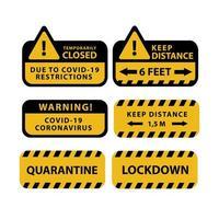 Sticker and Label Design Quarantine COVID-19 Collection on White vector