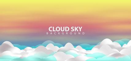 Realistic Sunset with Clouds Sky Background vector
