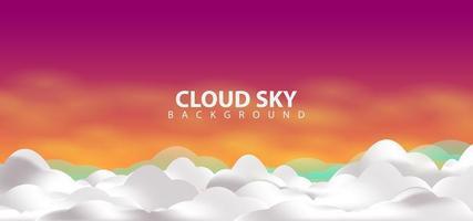 Magenta Sky Clouds design Background Template vector