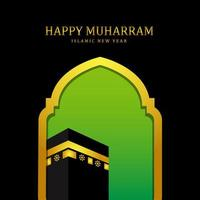 Happy Muharram Islamic New Year Background with Mosque and Mecca vector
