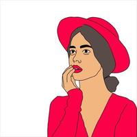 donna alla moda in rosa su sfondo bianco