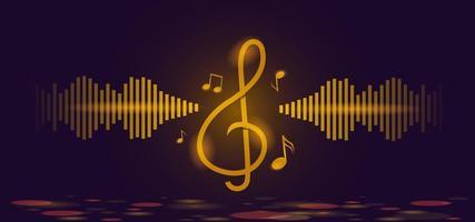 modelo de fundo de notas musicais douradas e clave de sol