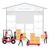 People working in a factory warehouse