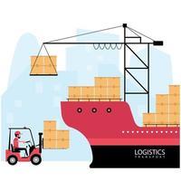 logística de buques y proceso de entrega vector