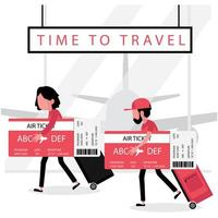 Man and woman holding big boarding passes and luggage vector