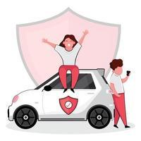 donna seduta e uomo in piedi accanto a un'auto assicurata