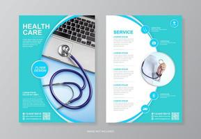 Corporate health care and medical flyer design for printing vector