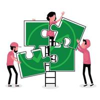 Group of people working as a team on a puzzle vector