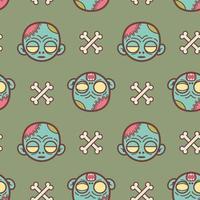 Zombie face cartoon seamless pattern vector