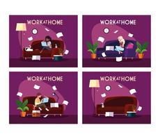 ensemble de scènes avec des personnes travaillant à domicile