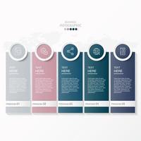 rettangolo e icone in cerchio infografica con 5 passaggi