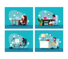 Set of four women working at home vector