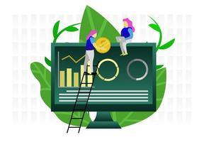 Woman danalyzing data and finances on big monitor