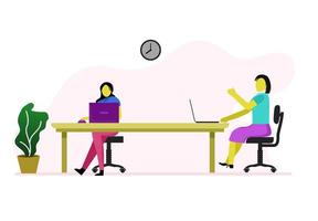 Two women working in meeting room vector