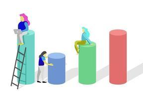 diseño colorufl con mujeres en cilindros vector