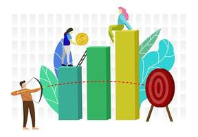 Business people shooting target and climbing on graph vector