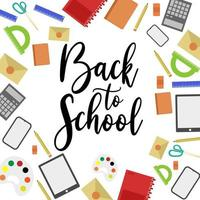 Back to school banner with school supplies and calligraphy