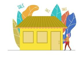 Young woman going to sale market vector