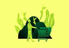 homem com carrinho de compras na frente de pedras e folhas