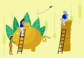 Workers putting money in piggy bank vector