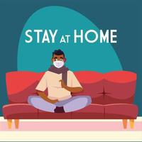 Stay at home awareness with masked man on couch