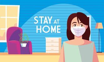 Stay at home awareness and a woman in the living room