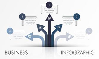Plantilla de infografía empresarial de flecha azul y gris