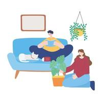 Boy and girl doing activities in a room vector