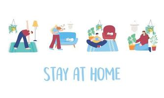 Stay at home activities set vector