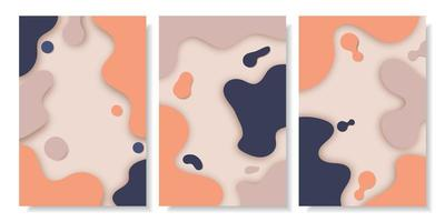 Abstract fluid shape with shadows cover set
