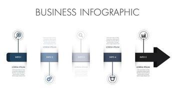 Plantilla de infografía empresarial con forma de flecha azul y gris