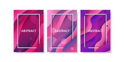 Abstract pink and purple gradient fluid shape set