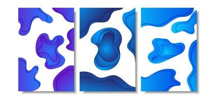 Abstract blue and purple gradient papercut layers cover set