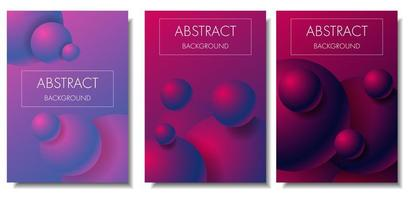 3d gradient colorful spheres card set vector