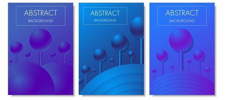 Blue purple gradient 3d spheres on sticks cover set vector