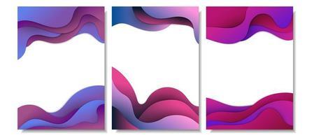 conjunto de cartão de forma ondulada abstrata em camadas de gradiente roxo