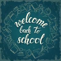 bienvenido de nuevo a la escuela, caligrafía y garabatos escolares