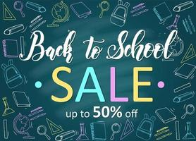 Back to school sale banner with hand drawn icons