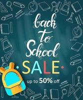 Back to school sale banner with doodles and backpack
