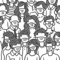 gruppo disegnato a mano stilizzato di persone in maschere mediche