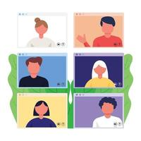Video call conference set vector