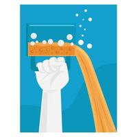 Hands raising and pouring a glass of beer vector